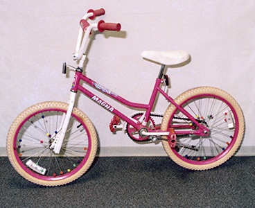 pink and white bicycle