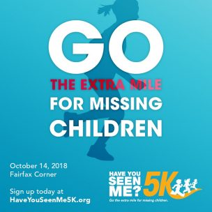Go the extra mile for missing children race poster