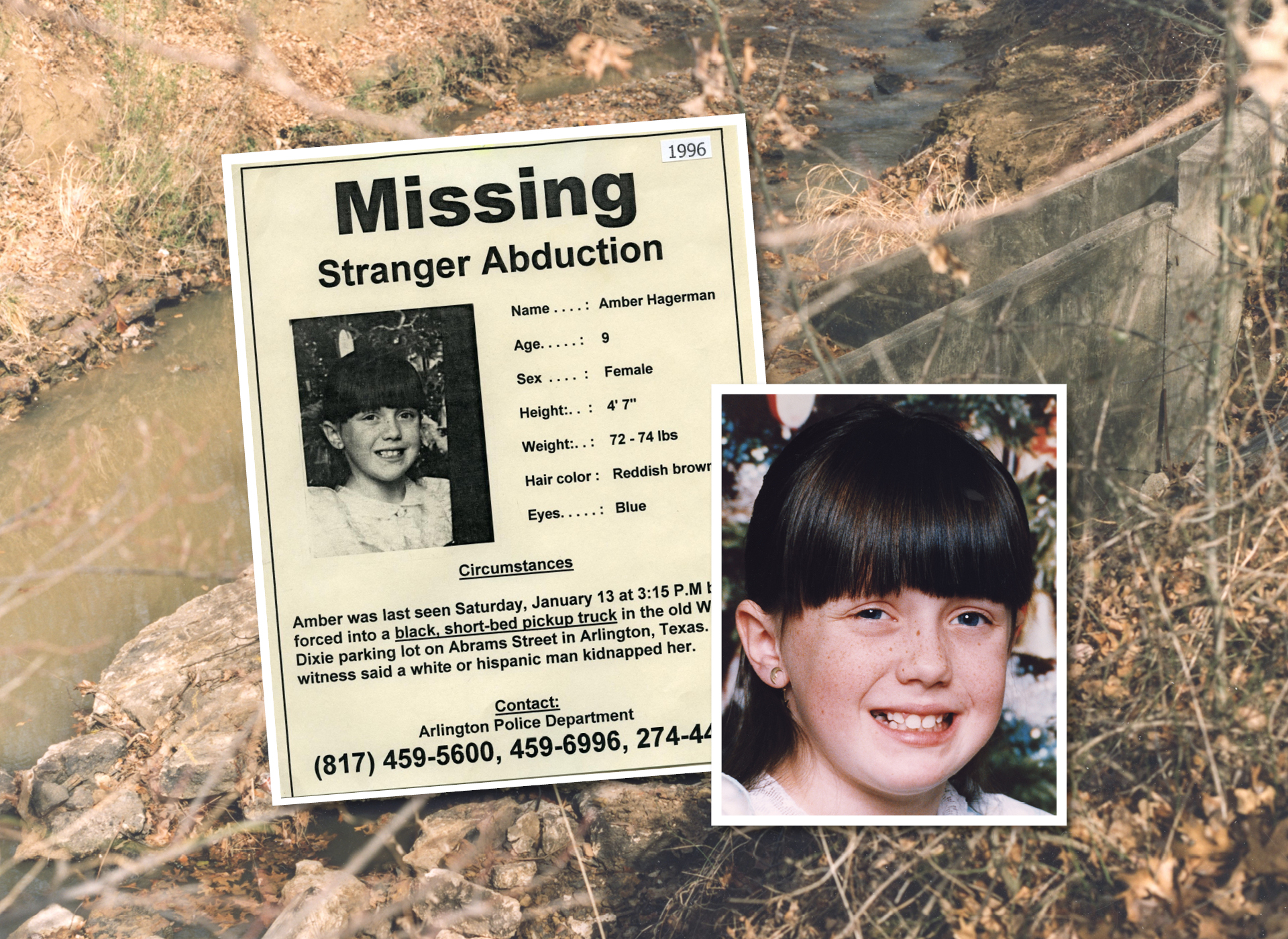 Amber's missing poster with creek in the background