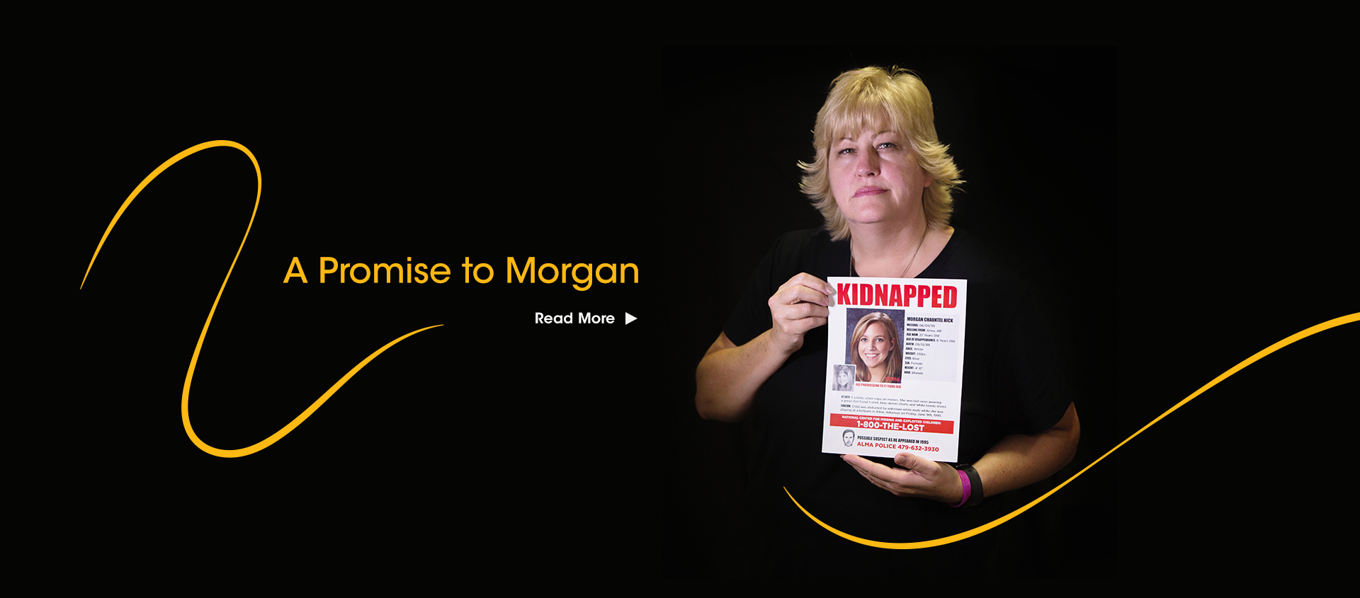 Colleen Nick holds poster of missing Morgan