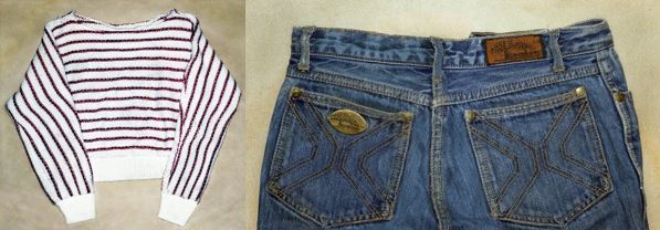 "Valentine Sally was found wearing this red and white striped sweater and ""Seasons"" brand size 9 jeans."